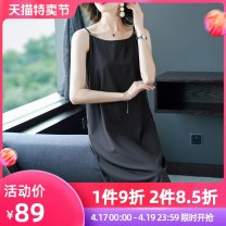 Women's large Summer 2020 black M L XL XXL XXXL Dress singleton  commute easy moderate Socket Sleeveless Solid color Simplicity Crew neck Medium length routine Fire sleeve 35-39 years old Medium length Other 100% Pure e-commerce (online only) other