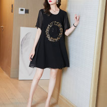 Women's large Summer 2021 black M L XL XXL Dress singleton  easy moderate Socket Short sleeve Crew neck routine Fire sleeve Middle-skirt Other 100% Pure e-commerce (online only) other