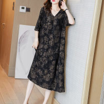 Women's large Summer 2021 Black flower M L XL XXL XXXL Dress singleton  commute easy moderate Socket Short sleeve Decor V-neck Medium length Three dimensional cutting routine Fire sleeve 35-39 years old longuette Other 100% Pure e-commerce (online only) other