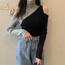 Wool knitwear Autumn 2020 Average size Apricot, grey Long sleeves singleton  Socket other 30% and below routine commute Self cultivation High collar routine Color matching Socket Korean version 18-24 years old Splicing