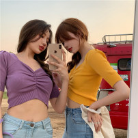 Wool knitwear Spring 2020 Average size Apricot, purple, red, yellow, black Short sleeve singleton  Socket Chloroprene 31% (inclusive) - 50% (inclusive) have cash less than that is registered in the accounts routine commute Self cultivation V-neck routine Solid color Socket Retro 18-24 years old