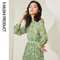 Dress Autumn of 2019 S M L XL longuette singleton  Long sleeves commute square neck middle-waisted Decor Socket Pleated skirt routine 25-29 years old Type A lady Pleated lace up button More than 95% Chiffon polyester fiber Polyester 100% Pure e-commerce (online only)