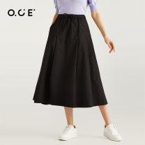 skirt Spring 2021 S M L XL Black Khaki Mid length dress Versatile Natural waist 25-29 years old PWNCO19074 More than 95% OCE cotton Cotton 97.1% polyurethane elastic fiber (spandex) 2.9%