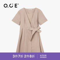 Dress Summer 2020 Black Khaki S M L XL Middle-skirt singleton  Short sleeve commute V-neck middle-waisted Solid color Socket other routine Others 25-29 years old Type X OCE Simplicity PWNCD01223 More than 95% cotton Cotton 100% Same model in shopping mall (sold online and offline)