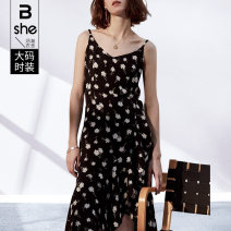 Women's large Summer 2021 black Large L Large XL Large 2XL large 3XL large 4XL large 5XL Dress singleton  street easy moderate Socket Sleeveless other Medium length Three dimensional cutting bx2059 Binghan clothing house 35-39 years old Three dimensional decoration Medium length Europe and America