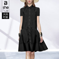 Women's large Summer 2021 Black yellow Large L Large XL Large 2XL large 3XL large 4XL large 5XL Dress singleton  street easy moderate Socket Short sleeve Polo collar Polyester cotton Three dimensional cutting other Binghan clothing house 35-39 years old Button Medium length other Europe and America