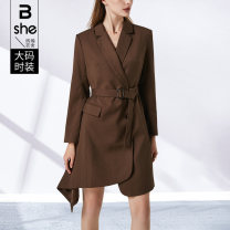 Women's large Spring 2021 coffee Large L Large XL Large 2XL large 3XL large 4XL large 5XL Dress singleton  street Straight cylinder Cardigan Long sleeves Solid color other Polyester others Three dimensional cutting routine Binghan clothing house 35-39 years old belt Middle-skirt other