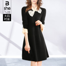 Women's large Spring 2021 Black Rose Large L Large XL Large 2XL large 3XL large 4XL large 5XL Dress singleton  street Self cultivation moderate Socket Long sleeves Polyester polyester others Three dimensional cutting other bx5066 Binghan clothing house 35-39 years old Medium length other