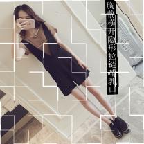 Nursing clothes Brown, apricot M,L,XL,2XL Other / other Socket summer Short sleeve Korean version Solid color Lift up cotton KZCaM55H