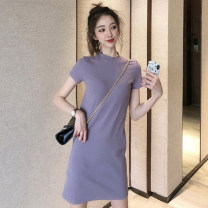 Dress Summer 2020 Purple black S M L XL Middle-skirt singleton  Short sleeve commute Crew neck High waist Solid color Socket A-line skirt routine Others 25-29 years old Type A UFP Simplicity More than 95% other other Other 100% Pure e-commerce (online only)