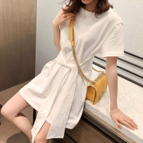 Dress Summer 2021 White, blue, black XS S M L XL Short skirt singleton  Short sleeve commute Crew neck Loose waist Solid color Socket A-line skirt routine Others 25-29 years old Type A UFP Korean version Bandage U22305F More than 95% other Other 100% Pure e-commerce (online only)