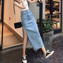 skirt Summer 2020 S M L XL wathet longuette commute High waist Denim skirt Solid color Type A 25-29 years old U21087F More than 95% UFP other Old tassel pocket Retro Other 100% Pure e-commerce (online only)