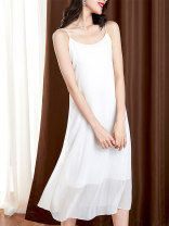Dress Summer 2021 White black M L XL 2XL Mid length dress singleton  Sleeveless commute other High waist Solid color Socket A-line skirt other camisole 25-29 years old Type A UFP Korean version More than 95% other Other 100% Pure e-commerce (online only)