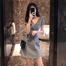 Dress Summer 2020 Black and white check S M L XL Short skirt singleton  Short sleeve commute V-neck High waist lattice Socket A-line skirt routine Others 25-29 years old Type A UFP Retro More than 95% other Other 100% Pure e-commerce (online only)