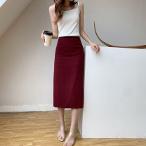 skirt Summer 2020 XS S M L XL Brick red (elastic waist) black (elastic waist) Mid length dress commute High waist skirt Solid color Type H 25-29 years old U20970F More than 95% UFP other Retro Other 100% Pure e-commerce (online only)