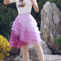 skirt Summer 2020 The small elastic waist is 1.8-2, the medium elastic waist is 2.1-2.2, and the large elastic waist is 2.3-2.5 Short skirt fresh High waist Cake skirt Decor Type A 25-29 years old Slant short cake skirt 31% (inclusive) - 50% (inclusive) brocade nylon