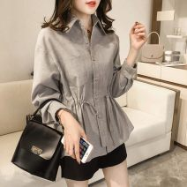 T-shirt Grey blue M L XL 2XL 3XL 4XL Spring of 2019 Long sleeves Polo collar easy Regular routine commute other 96% and above 18-24 years old Korean version originality Mi Jiaqi Other 100%