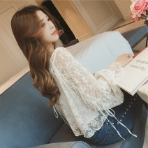 T-shirt White (+ sling) black (+ sling) bean paste powder (+ sling) S M L XL XXL Autumn of 2018 Long sleeves V-neck easy Regular bishop sleeve commute other 96% and above 18-24 years old Korean version originality Mi Jiaqi Other 100%