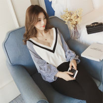 T-shirt White black S M L XL XXL Autumn of 2018 Long sleeves V-neck easy Regular bishop sleeve commute other 96% and above 18-24 years old Korean version originality Mi Jiaqi Other 100%