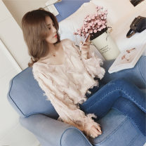T-shirt S M L XL XXL Autumn of 2018 Long sleeves V-neck easy Regular routine commute other 96% and above 18-24 years old Korean version originality Mi Jiaqi Other 100%
