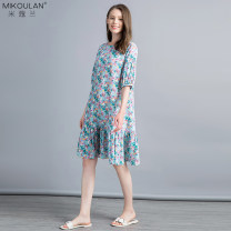 Dress Spring 2020 Broken flowers with blue background S M Mid length dress singleton  elbow sleeve Sweet Crew neck Loose waist Broken flowers A button Ruffle Skirt bishop sleeve Others 30-34 years old Micora HL-7226 More than 95% silk Mulberry silk 100% Countryside Exclusive payment of tmall