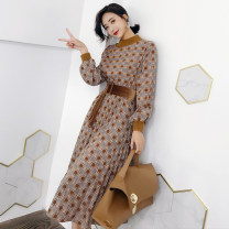 Dress Autumn of 2019 Khaki coffee S M L XL longuette singleton  Long sleeves commute Crew neck Elastic waist lattice Socket Pleated skirt routine 25-29 years old Type A Geessoew / geese Korean version Frenulum More than 95% other other Other 100% Pure e-commerce (online only)