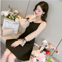 Dress Autumn of 2019 Black long sleeve short sleeve 690 S M L XL 2XL Mid length dress singleton  Long sleeves commute V-neck High waist Solid color zipper A-line skirt Princess sleeve camisole 18-24 years old Type A Geessoew / geese Korean version Stitching bandage nail bead yarn net ztCN9Alv other