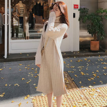 Dress Winter of 2019 S M L XL Mid length dress singleton  Long sleeves commute High collar Loose waist Solid color Socket A-line skirt routine Others 18-24 years old Type A Geessoew / geese Korean version More than 95% knitting other Other 100% Pure e-commerce (online only)
