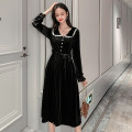 Dress Winter of 2019 black S M L XL 2XL longuette singleton  Long sleeves commute Doll Collar High waist Solid color Single breasted Big swing routine Others 18-24 years old Geessoew / geese Retro Bow tie More than 95% other Other 100% Pure e-commerce (online only)