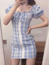 Women's large Spring 2021 wathet S M L XL Dress singleton  commute Self cultivation Socket Short sleeve Korean version square neck puff sleeve Z2 Geessoew / geese 18-24 years old Short skirt Other 100% Pure e-commerce (online only)