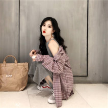 Dress Autumn of 2019 S M L XL longuette Two piece set Long sleeves commute Crew neck High waist Solid color Socket A-line skirt routine camisole 18-24 years old Type A Geessoew / geese Korean version Button More than 95% other Other 100% Pure e-commerce (online only)
