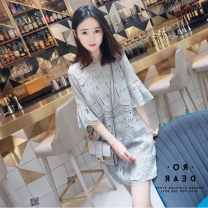 Dress Summer of 2019 Picture color S M L XL 2XL Middle-skirt singleton  elbow sleeve commute Crew neck Loose waist Solid color Socket A-line skirt Lotus leaf sleeve 18-24 years old Geessoew / geese Korean version Cut out lace with ruffles More than 95% other Other 100% Pure e-commerce (online only)