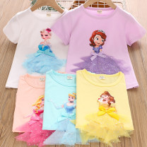 T-shirt White, purple, pink, sky blue, yellow, white - Sophia Ashkelira 100cm,110cm,120cm,130cm,140cm female summer Short sleeve Crew neck Cartoon There are models in the real shooting nothing cotton Cartoon animation Cotton 95% bamboo fiber 5% Class B Sweat absorption Chinese Mainland