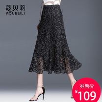 skirt Summer of 2019 19/S 20/M 21/L 22/XL 23/XXL 24/3XL 25/4XL Polka Dot black background printing black background pink flower black background cherry blossom Mid length dress commute Natural waist Ruffle Skirt Dot Type A QZ5381 More than 95% Chiffon Corbelle polyester fiber Korean version