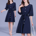 Dress Summer 2020 Green, blue M,L,XL,2XL,3XL,4XL Mid length dress singleton  elbow sleeve commute Crew neck High waist Solid color A-line skirt 25-29 years old Type A Korean version Bandages, buttons, lace Yang 666 other