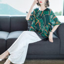 jacket Summer 2021 L,XL,2XL,3XL,4XL Blue top + wide leg pants, khaki Top + wide leg pants, green top + wide leg pants Over 35 years old silk 96% and above