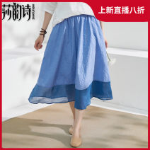 skirt Summer 2021 M Blue Decor Mid length dress commute Natural waist A-line skirt 35-39 years old 210141-1 More than 95% Shakespeare's verse hemp Embroidered pocket stitching literature Ramie 100% Pure e-commerce (online only)