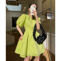 Women's large Summer 2021 Black vegetation green S M L XL Dress commute Korean version Medium length w10204 Bathuti 18-24 years old Medium length Polyester 100% Pure e-commerce (online only) other