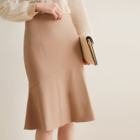 skirt Winter of 2019 S,M,L,XL Black, khaki Mid length dress commute High waist A-line skirt Solid color Type A 25-29 years old Moyu / Miao Language
