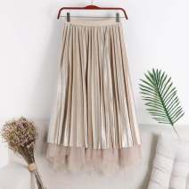 skirt Autumn of 2018 Average size commute High waist Pleated skirt Solid color Type A 18-24 years old 51% (inclusive) - 70% (inclusive) corduroy other Pleat, web Korean version