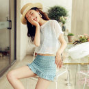 Bikini Naifeier blue M,L,XL Skirt bikini With chest pad without steel support Polyester, spandex N2923