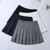 skirt Summer 2020 XS S M L XL 2XL 3XL Short skirt Versatile High waist Pleated skirt Type A 18-24 years old pGAMq More than 95% Graceful and fragrant other Stitching and stitching for open line decoration PU