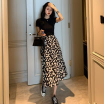 Dress Summer 2020 Black short T + Black Daisy skirt black short T + white daisy skirt S M L XL longuette Two piece set Short sleeve commute Crew neck High waist Broken flowers Socket A-line skirt other Others 18-24 years old Type A Graceful and fragrant Retro fPzrw7 More than 95% Chiffon other