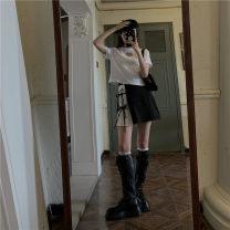 Fashion suit Summer 2021 Average size White love T-shirt, black pleated skirt s, black Pleated Skirt M, black pleated skirt L 18-25 years old 61155# 51% (inclusive) - 70% (inclusive)
