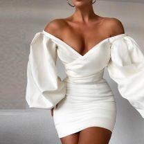 Dress Winter 2020 white XS,L,S,M Short skirt singleton  street High waist Solid color zipper One pace skirt