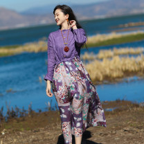 Dress Spring 2021 violet M, L Mid length dress singleton  Long sleeves commute stand collar Loose waist Decor Socket A-line skirt routine Others Type A Sanskrit with Hui tune literature Pocket, tie, print Yy-q21024 ramie purple stitching printed skirt More than 95% hemp