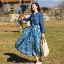 Dress Spring 2021 blue S,M,L Mid length dress singleton  Long sleeves commute V-neck Loose waist Decor Socket Big swing routine Others Type A Sanskrit with Hui tune literature Pocket, tie, print Yy-q21054 ramie blue stitched printed skirt More than 95% hemp