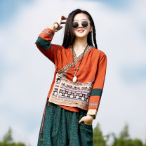 T-shirt M, L Autumn 2020 Nine point sleeve V-neck easy Regular routine commute hemp 51% (inclusive) - 70% (inclusive) ethnic style Sanskrit with Hui tune