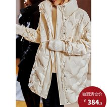 Down Jackets Winter 2020 Plain wood Dark night, cream apricot M,L,XL White duck down 90% Medium length Long sleeves thickening zipper stand collar street routine Straight cylinder Solid color KN3003 150g (including) - 200g (excluding) Pocket, strap, zipper 30-34 years old 96% and above