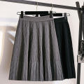 skirt Spring 2021 One size fits all Grey black Middle-skirt Versatile High waist Pleated skirt Solid color Type A 25-29 years old More than 95% knitting Wanzhang other fold Other 100% Same model in shopping mall (sold online and offline)